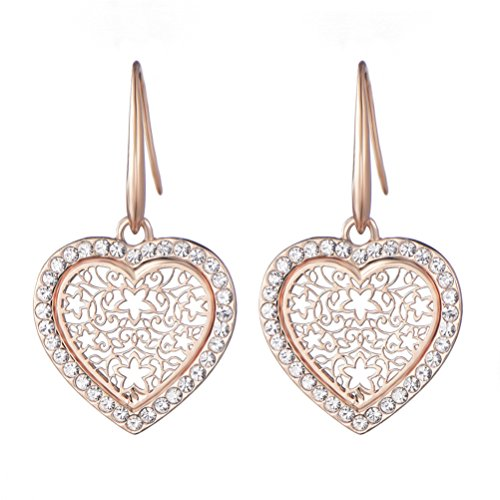 (Charming Love Heart Dangle Earrings Hook Perfect Gift For Wife Lover Mother)