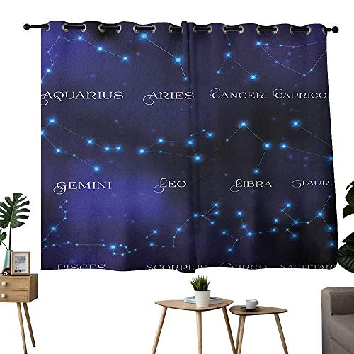 bybyhome Constellation Grommet Soft Darkening Curtains Dark Night Sky Star Groups of Zodiacal Circle Styled Letters Privacy Assured Window Treatment Dark Blue Pale Blue Purple W84 x L72