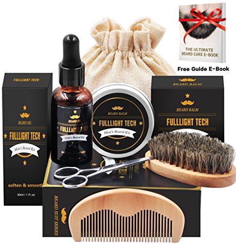 Beard Grooming & Trimming Kit for Men Beard Growth Gift Set w/ Unscented Balm,Beard Softening Oil Conditioner,Beard Bristle Brush + Comb + Mustache Scissors for Styling & Beard Trimmer Kit