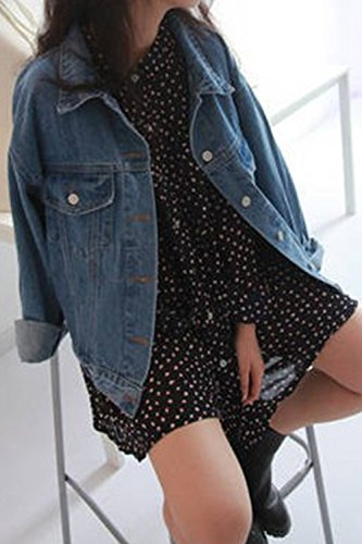 Alla La Con Giacca Moda Una Perdere Le Blu Jeans Lunga Di Autunno Donne Giacche Manica Y5qUEwT