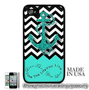 Anchor Live the Life You Love Infinity Quote - Aqua Black White Chevron with Anchor iPhone 5 5S Case - BLACK RUBBER by Unique Design Gifts [MADE IN USA]