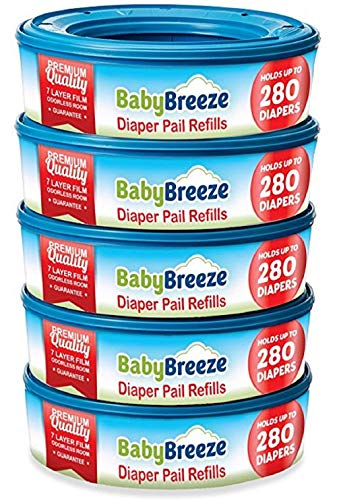 Diaper Pail Refill Bags for Playtex Diaper Genie - 1400 Count (5-Pack) - By BabyBreeze (Diaper Genie Pail Refill)