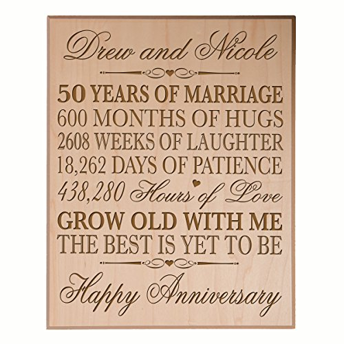 Personalized 50th Wedding Anniversary Wall Plaque Gifts for Couple, Custom Made 50th Anniversary Gifts for Her, Gifts for Him 12