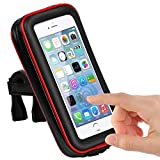 CLM-Tech Bike Phone Holder for up to 5.5 inch Smartphones, Bicycle Smartphone Mount #3 waterproof for Road & Mountain Bikes, Motorbikes, Scooters, black red