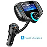Bluetooth FM Transmitter for Car, DYTesa Wireless In-Car FM Transmitter Radio Adapter Car Kit with AUX Input/Output,1.7 Inch Display,Quick Charge(QC) 3.0 and Smart 2.4A Dual USB Ports, TF Card (BT70)