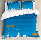 Lunarable Boy's Room Duvet Cover Set King Size, Old Fashion Computer Video Games Platform Coins Bricks Clouds Graphic, Decorative 3 Piece Bedding Set with 2 Pillow Shams, Blue Pale Grey Brown