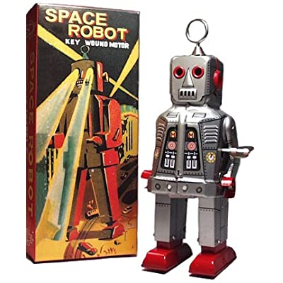 Sparky Robot Wind Up Tin Toy Silver: Toys & Games