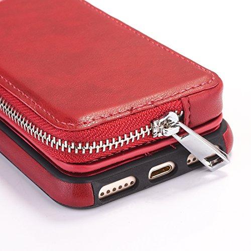 a di Per pelle iphone DuoShengZhTG 7 Rosso rotazione cerniera Grigio con nbsp;e 8 portafoglio TPU borsa protettiva Grigio con nbsp;Custodia rimovibile 6vxxSqdwB