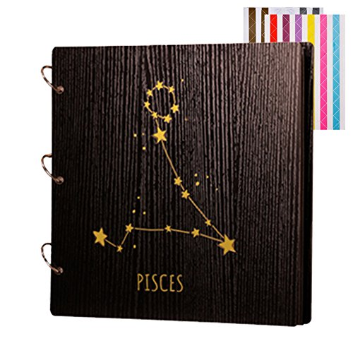 FORUSKY Twelve Constellations Wood Cover Handmade DIY Scrapbook Photo Album for Wedding Guestbook, Valentine's Day Gifts, Baby Memory Book, Baby Shower Guest Book, Graduation Photo Album – Pisces