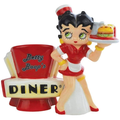 Westland Giftware Betty Boop's Diner Magnetic Ceramic Salt and Pepper Shaker Set, 4.25-Inch Tall