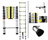 Todeco - Telescopic ladder, Foldable Ladder - Maximum load: 330 lbs - Number of steps: 9 - 8.5 feet, EN 131-6, Extra gap