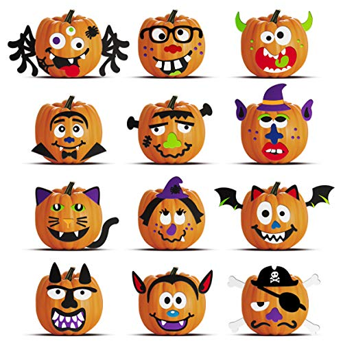 Ideas For Halloween Decorating (Unomor Halloween Pumpkin Decorating Craft Kit Stickers - Makes 24 Pumpkins (12 Designs with 2 Sizes & 30 Wood Sticks) Halloween Party Supplies Trick or Treat Party)