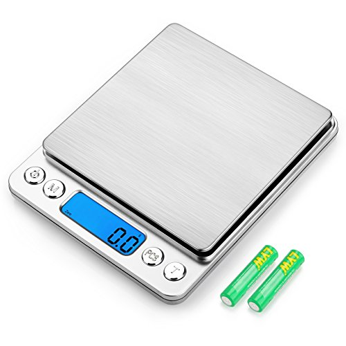 SHINE HAI Digital Kitchen Scale, Stainless Steel High-precision Pocket Food Scale, 0.1g - 3000g Multifunctional Pro Scale with Back-Lit LCD Display, Tare, PCS Features, Silvery (Batteries (0.1g Pocket)