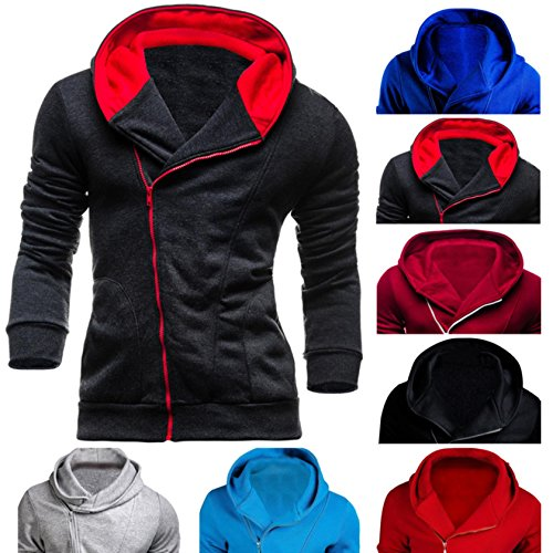 2017 Spring And Autumn New Oblique Zipper Male Casual Sweater Spell Color Hood Hood Sweater Wy13 Red wine L