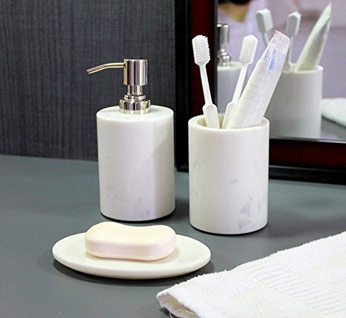 KLEO - Bathroom Accessory Set Made from Natural Stone - Bath Accessories Set Includes Soap Dispenser, Toothbrush Holder, Soap Dish (White - Set of 3)