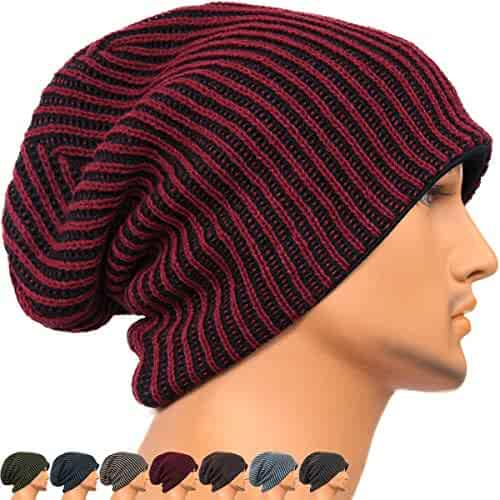 e61bc720d92 REDSHARKS Unisex Adult Winter Warm Slouch Beanie Long Baggy Skull Cap  Stretchy Knit Hat Oversized