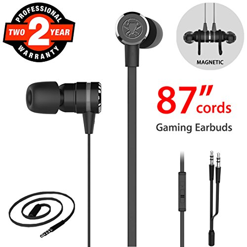 Cord Earphones Long (Gaming Earbuds, Noise Isolating Stereo Bass In Ear Headphones with Microphone 86 Inch Long Cord Extension Cable PC Adapter Magnetic Headset Earphones for Computer, iPhone, Samsung, Laptop, PSP - Black)