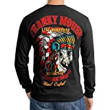 Indian Big Chief Classic American Motorcycle Biker Men T Shirt Long sleeve (Large, Black) Reviews