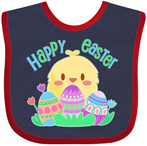 (Inktastic - Happy Easter- cute chick and eggs Baby Bib Navy and Red 2f4f5)