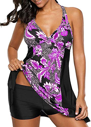 Allimy Swimsuits for Women Plus Size Tankini Tops Two Piece Bathing Suit Swimdress Medium ()