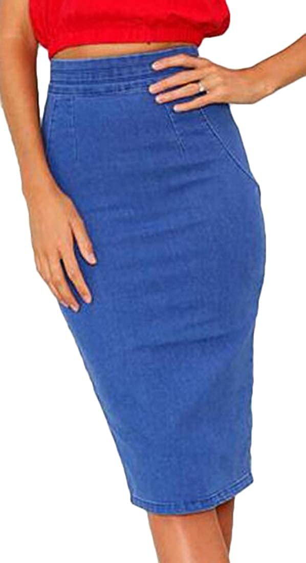 omniscient Womens Button Denim Jeans Bodycon Midi Skirt with Pockets