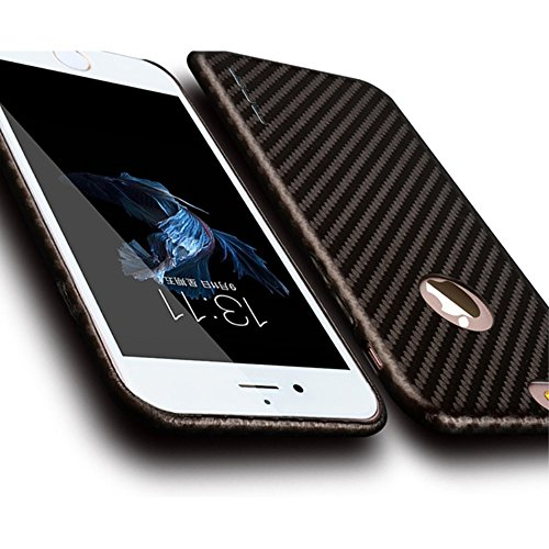 jlw Sac Case Étui Apple iPhone 6/6S carboon Look Marron decui Marron plastique rigide Coque
