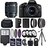 Canon EOS Rebel T6I 750D Digital SLR Camera + 18-55mm IS STM Lens + 2 X 32GB + 58mm Telephoto + Wide-Angle Lens + Filters + Flash + Tripod - International Version (No Warranty) (18-55mm IS STM)