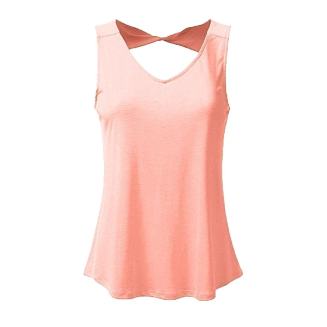 Gocheaper Women Plus Size Vest Hollow Out Casual Solid V Neck Sleeveless Tank Tops Fashion Shirt (S, Pink)