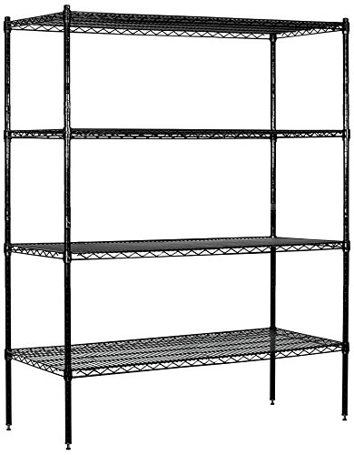 Salsbury Industries Stationary Wire Shelving Unit, 60-Inch Wide by 74-Inch High by 18-Inch Deep, Black by Salsbury Industries