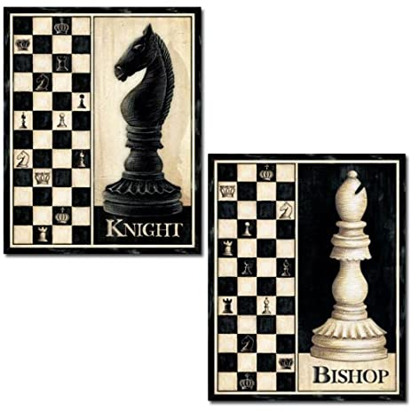 amazon com set of 2 chess board pieces art prints knight bishop 16