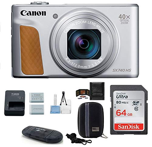 Canon PowerShot SX740 HS Digital Camera (Silver) PRO Bundle; Includes: 64GB SDXC Class 10 Memory Card + Spare Battery + Camera Case and More