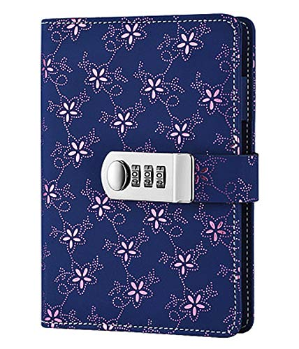 ARRLSDB Digital Password Notebook Combination Lock Diary (Combination Lock Journal) A6 Refillable PU Leather Binder Diary (Pink Morning Glory)