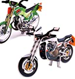 YChoice Educational Puzzle Kids Paper 3D Puzzle Education Learning Toy Fantastic Gifts Kids(Green Motorcycle)
