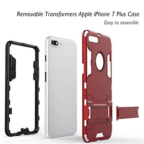 iPhone 7 Plus Case, Heavy Duty Protection Full Body Dual Layer Transformers Phone Case, Anti-drop for Apple iPhone 7 Plus (Red)