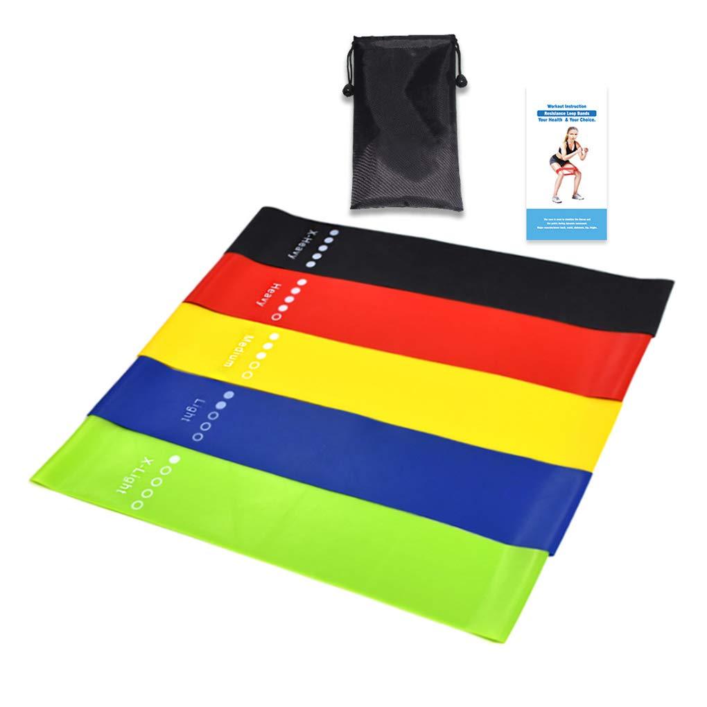 Set di Allenamento Resistenza Lega Loop Yoga di Forma Fisica la Forza delle Gambe Flessibilit/à Esercizio Elastic Band Stretch Strap Cdrox 5pcs