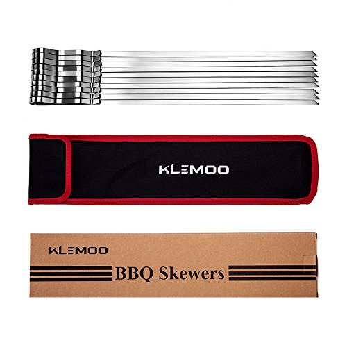 """KLEMOO Kabob Skewers 17"""" Stainless Steel BBQ Grilling Barbecue Skewers 7/20"""" Flat Metal Reusable Shish Kebab Sticks, The Secret to Evenly Grilled (Set of 10 + Storage Pouch)"""