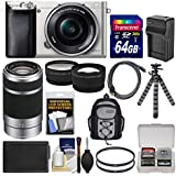Sony Alpha A6000 Wi-Fi Digital Camera & 16-50mm Lens (Silver) with 55-210mm Lens + 64GB Card + Case + Battery/Charger + Tripod + Kit