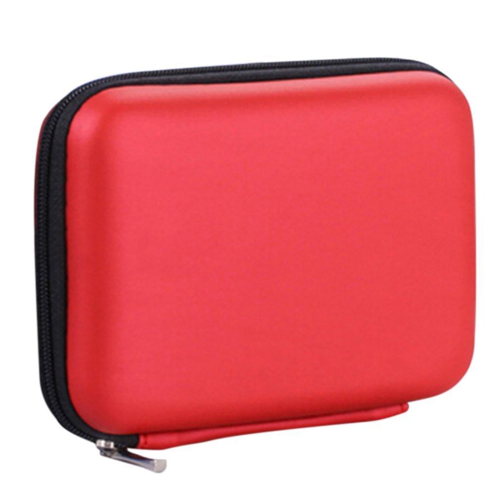 LAAT PU Bolsa de Auriculares/Paquete de lí nea de Datos/Bolsa de Disco Duro, 14 * 10 * 4 cm, Rojo