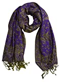 Peach Couture Elegant Reversible Paisley Pashmina Wrap (Purple)