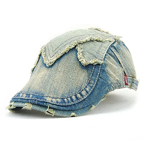 Roffatide Unisex Distressed Washed Denim Buckle Jean Newsboy Cap Driving Cabby Ivy Beret Hat - Ivy Cap Denim