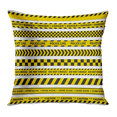 Janyho Throw Pillow Cover Black Yellow Stripes Barricade Tape Comfortable Print Living Room Sofa Bedroom Polyester Hidden Zipper Pillowcase Cushion Cover 18x18 Inch]()