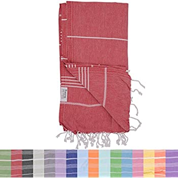 The Riviera Towel Company Peshtemal Hammam Fouta Cotton Turkish Bath Towel, Red