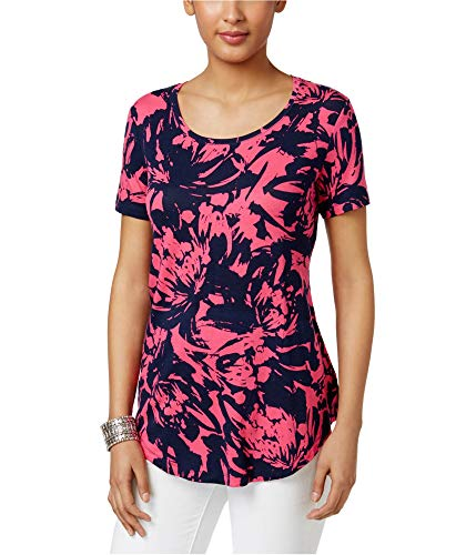 JM Collection Womens Printed Basic T-Shirt, Pink, Medium