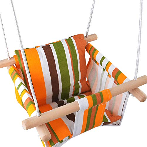 Toddler Baby Hanging Swing Seat Secure Canvas Hammock Chair with Backrest Cushion – Installation Accessories Included (White/Yellow/Green Stripes)