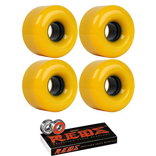 足首インフレーション足枷スケートボードクルーザーホイール58 mm x 38 mm 90 a 130 CオレンジBones Redsベアリング