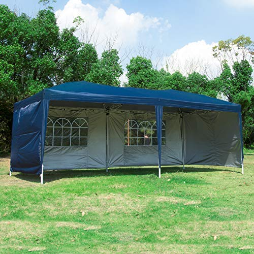 Easyzon 10 x 20FT Pop Up Patio EZ Canopy Tent Heavy Duty Gazebo Pavilion Outdoor Party Commercial Instant Tents Impact Canopies with Sidewalls, Blue