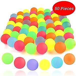 Bouncy Ball - 50 Bolas De Goma De Colores Sólidos De Neón De Colores, Bolas Inflables De 25 mm Usadas como Relleno De Bolsas para Fiestas para El ...