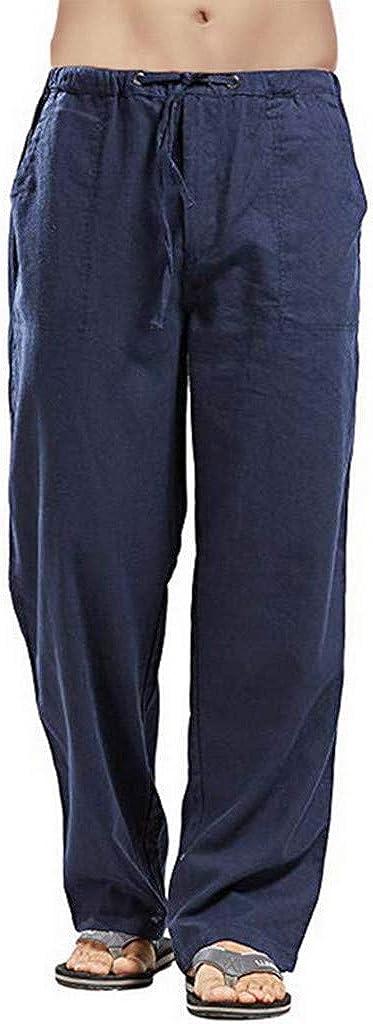 Pantalones Hombre Verano Casuales Tallas Grandes Moda Deportivos Lino Pants Color sólido Jogging Pantalon Fitness Suelto Pantalones Comodo Largos Pantalones Ropa de Hombre vpass