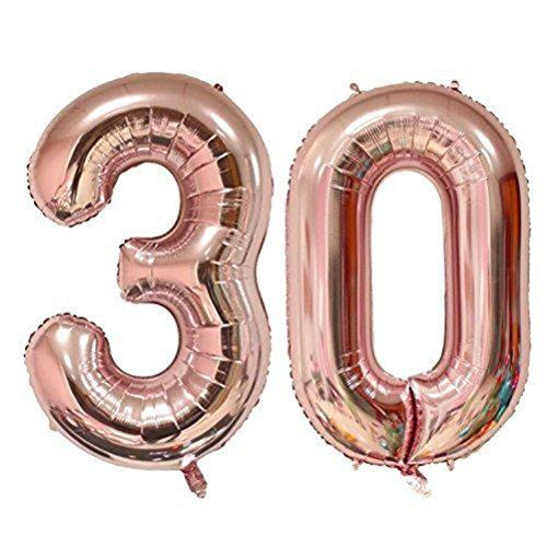Tellpet Rose Gold Number 30 Balloon, 40 -