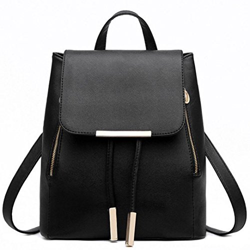 Outsta Women Leather Backpacks, Schoolbags Travel Shoulder Bag Mochila Feminina Lightweight Classic Basic Water Resistant Backpack Fashion (Black) by Outsta